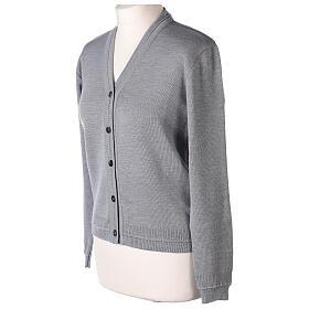 Cardigan court gris perle 50% laine mérinos 50% acrylique soeur In Primis s3