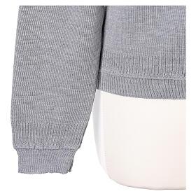 Cardigan court gris perle 50% laine mérinos 50% acrylique soeur In Primis s5