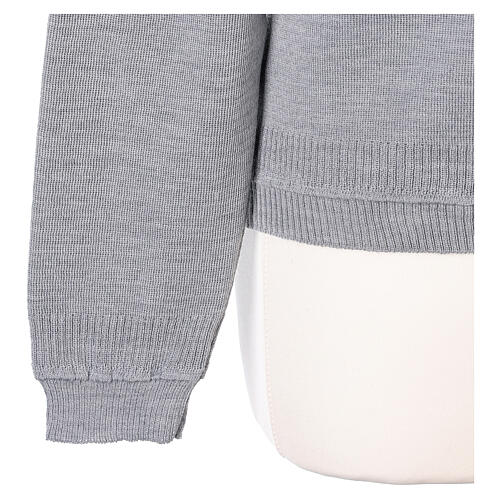 Cardigan court gris perle 50% laine mérinos 50% acrylique soeur In Primis 5