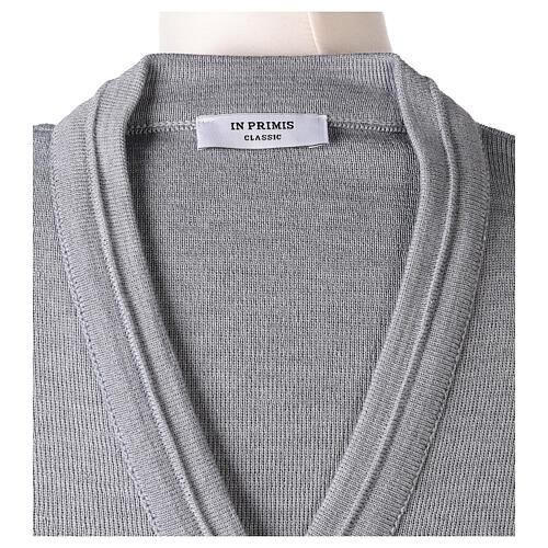Cardigan court gris perle 50% laine mérinos 50% acrylique soeur In Primis 7