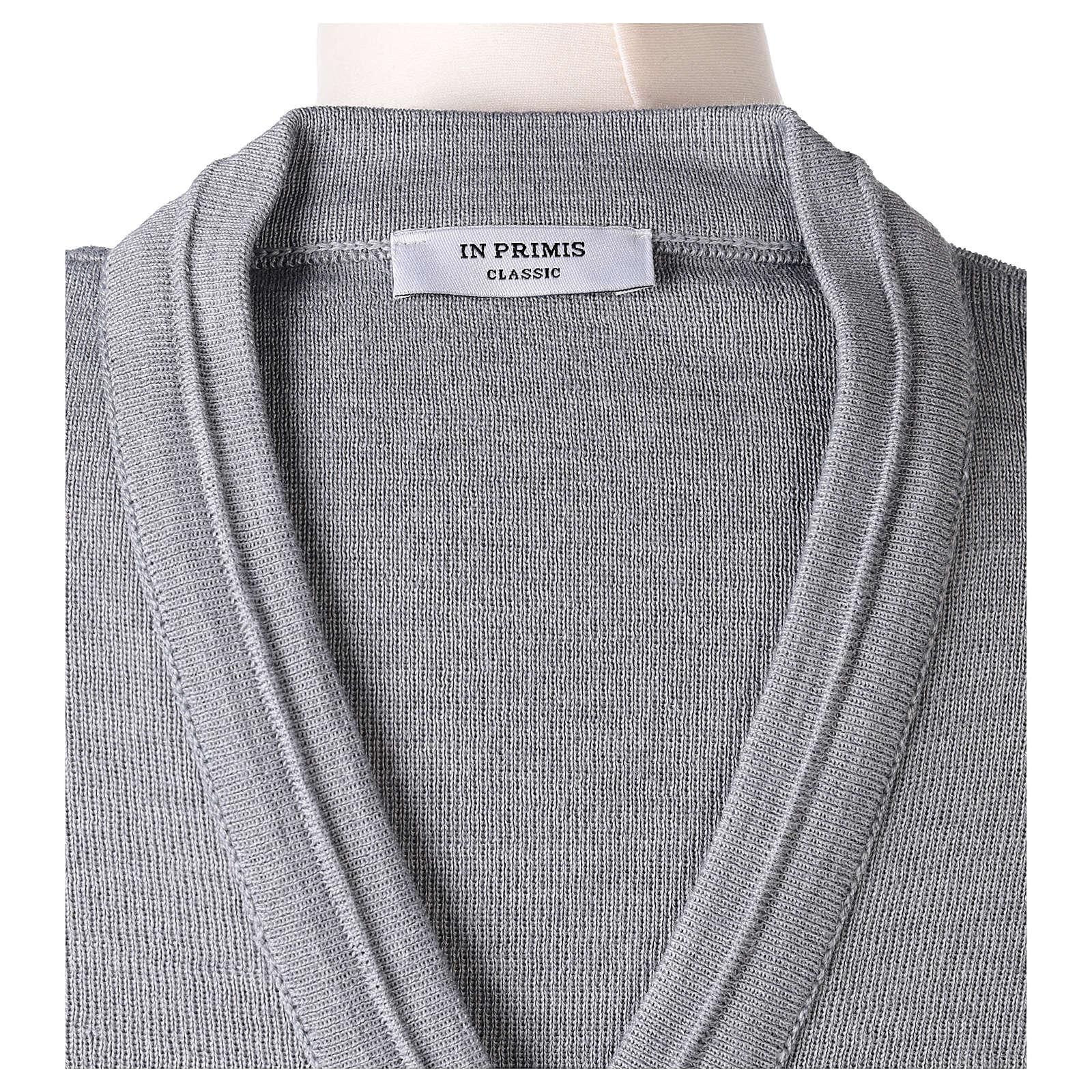 Giacca corta grigio perla 50% lana merino 50% acrilico suora In Primis 4