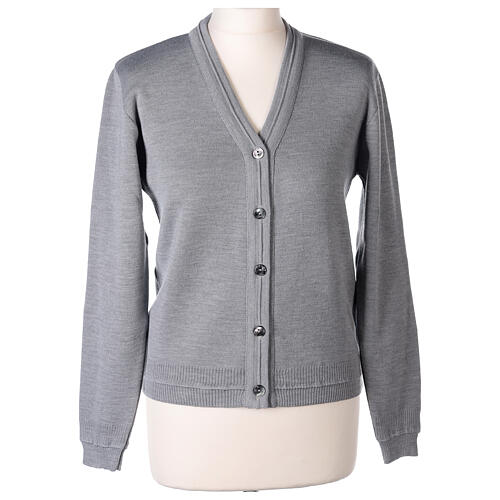 Sweter krótki perłowoszary 50% wełna merynos 50% akryl siostra zakonna In Primis 1