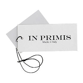 Casaco de malha curto cinza pérola decote em V para freira, 50% acrílico e 50% lã de merino, linha