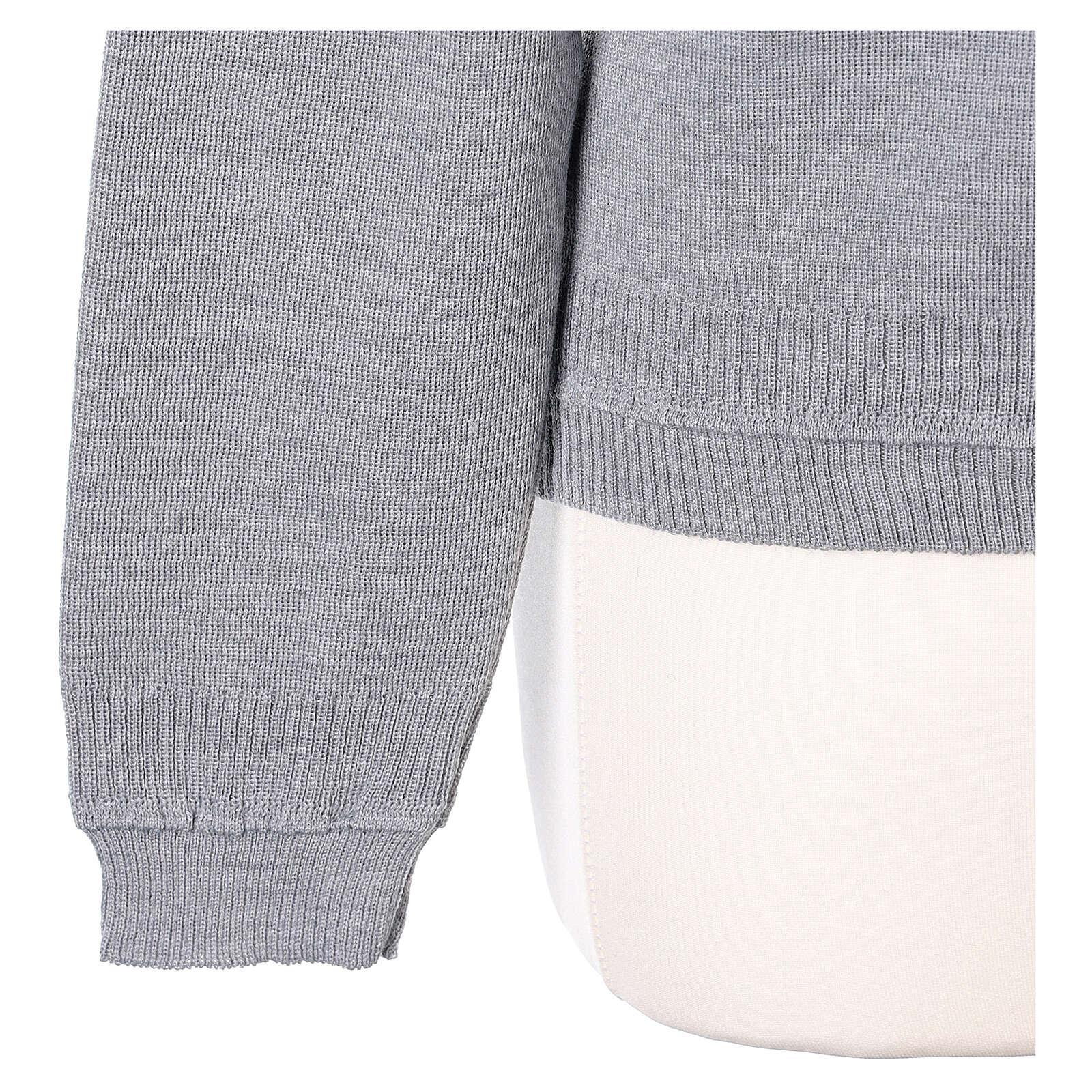 Short grey cardigan 50% merino wool 50% acrylic for nun In Primis 4
