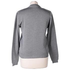 Short grey cardigan 50% merino wool 50% acrylic for nun In Primis s6