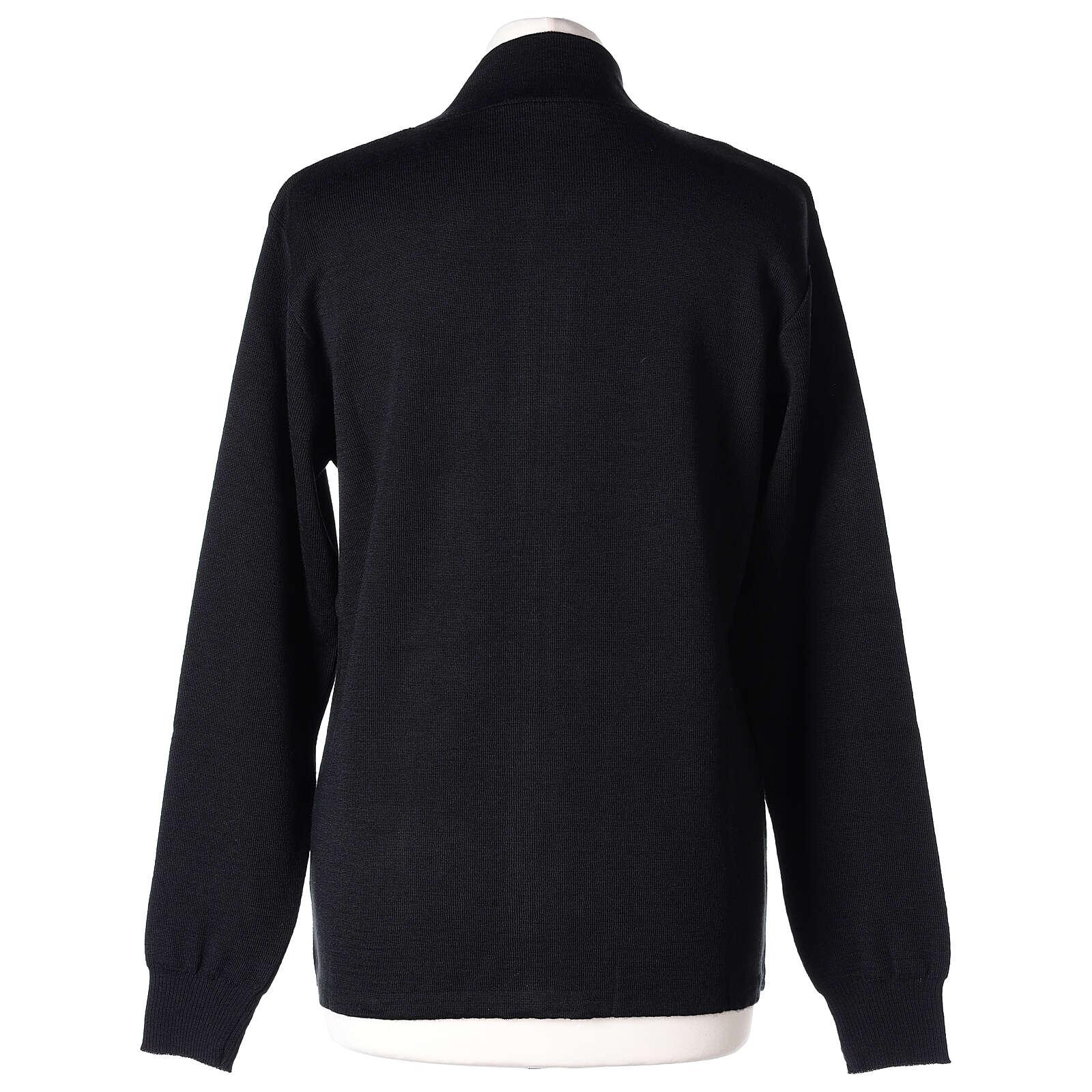 Chaqueta coreana con cremallera 50% acrílico 50% lana merina negra monja In Primis 4