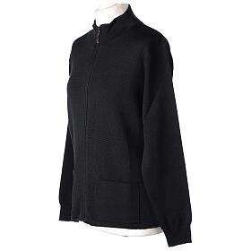 Chaqueta coreana con cremallera 50% acrílico 50% lana merina negra monja In Primis s3