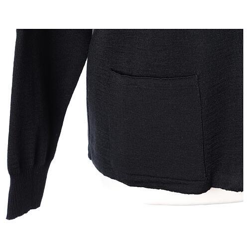 Cardigan col montant avec fermeture éclair 50% acrylique 50% laine mérinos noir soeur In Primis 4