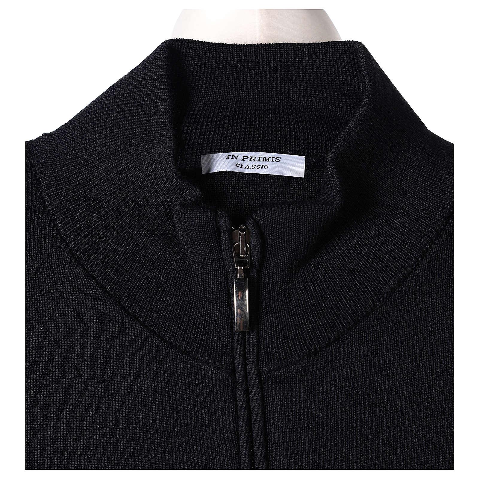 Giacca coreana con zip 50% acrilico 50% lana merino nera suora In Primis 4