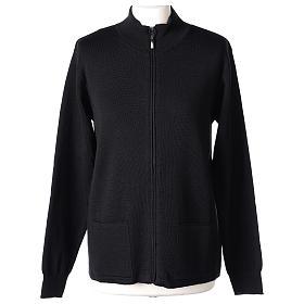 Giacca coreana con zip 50% acrilico 50% lana merino nera suora In Primis s1