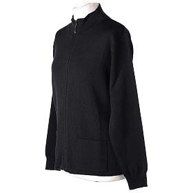 Giacca coreana con zip 50% acrilico 50% lana merino nera suora In Primis s3