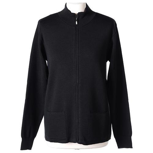 Giacca coreana con zip 50% acrilico 50% lana merino nera suora In Primis 1