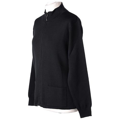 Giacca coreana con zip 50% acrilico 50% lana merino nera suora In Primis 3