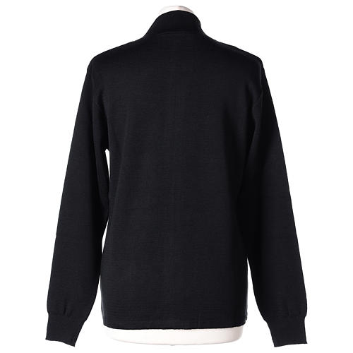 Giacca coreana con zip 50% acrilico 50% lana merino nera suora In Primis 5