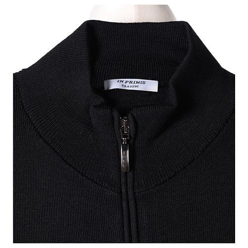 Giacca coreana con zip 50% acrilico 50% lana merino nera suora In Primis 6