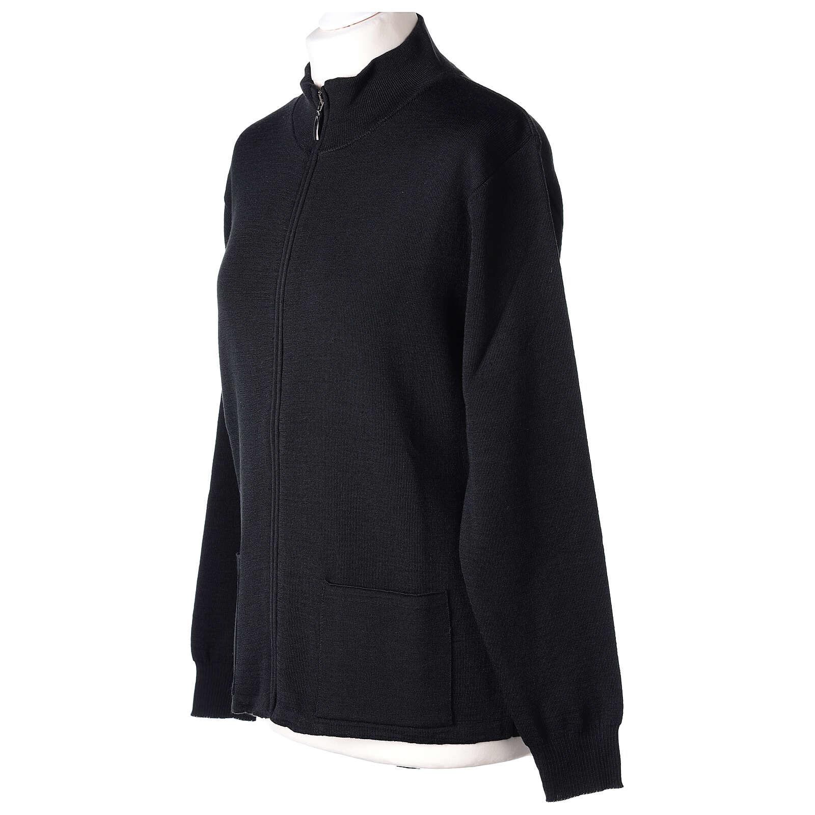 Sweter kołnierzyk koreański suwak 50% akryl 50% wełna merynos czarny siostra zakonna In Primis 4