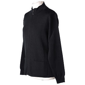 Sweter kołnierzyk koreański suwak 50% akryl 50% wełna merynos czarny siostra zakonna In Primis s3