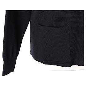 Sweter kołnierzyk koreański suwak 50% akryl 50% wełna merynos czarny siostra zakonna In Primis s4