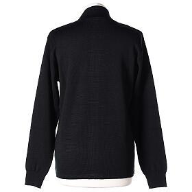 Sweter kołnierzyk koreański suwak 50% akryl 50% wełna merynos czarny siostra zakonna In Primis s5