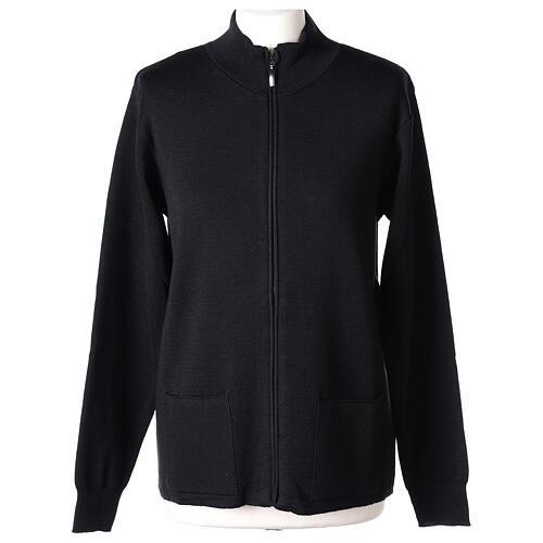 Sweter kołnierzyk koreański suwak 50% akryl 50% wełna merynos czarny siostra zakonna In Primis 1