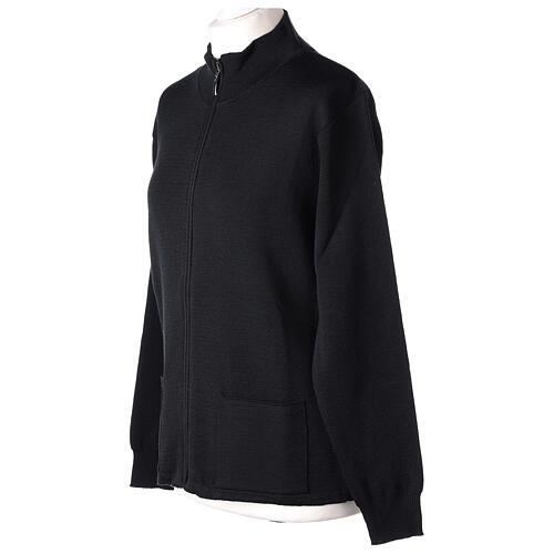 Sweter kołnierzyk koreański suwak 50% akryl 50% wełna merynos czarny siostra zakonna In Primis 3