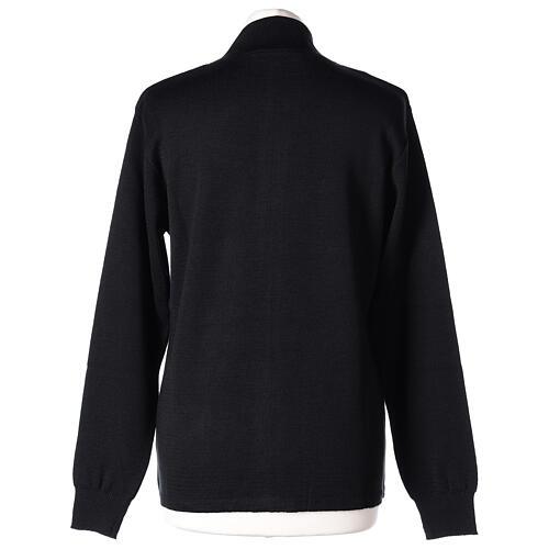 Sweter kołnierzyk koreański suwak 50% akryl 50% wełna merynos czarny siostra zakonna In Primis 5