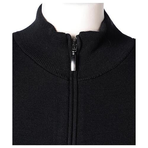 Casaco preto com fecho e bolsos gola coreana para freira, 50% acrílico e 50% lã de merino, linha