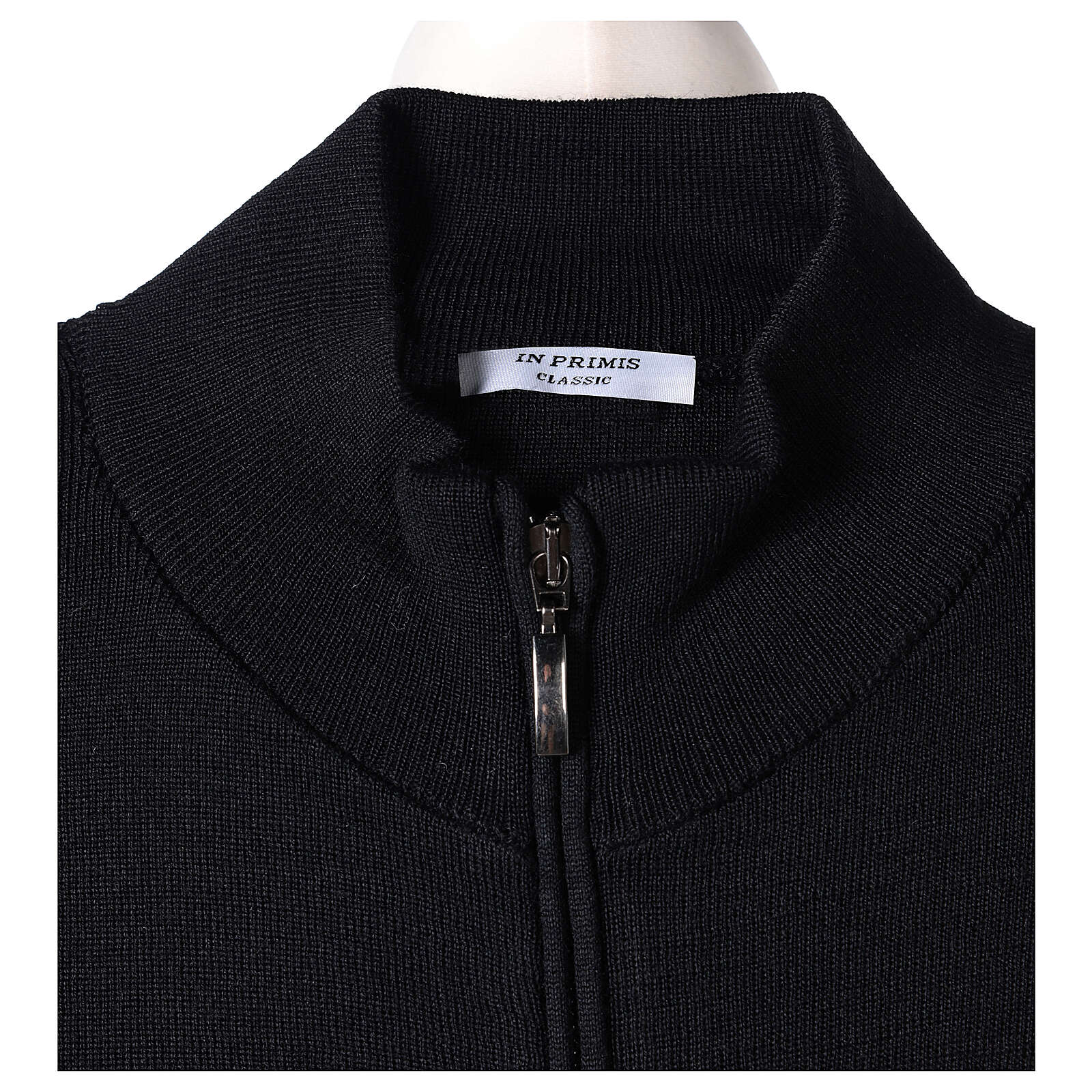 Black nun jacket with mandarin collar and zip 50% acrylic 50% merino wool In Primis 4
