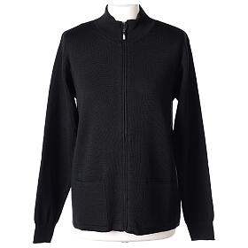 Black nun jacket with mandarin collar and zip 50% acrylic 50% merino wool In Primis s1