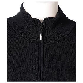 Black nun jacket with mandarin collar and zip 50% acrylic 50% merino wool In Primis s2