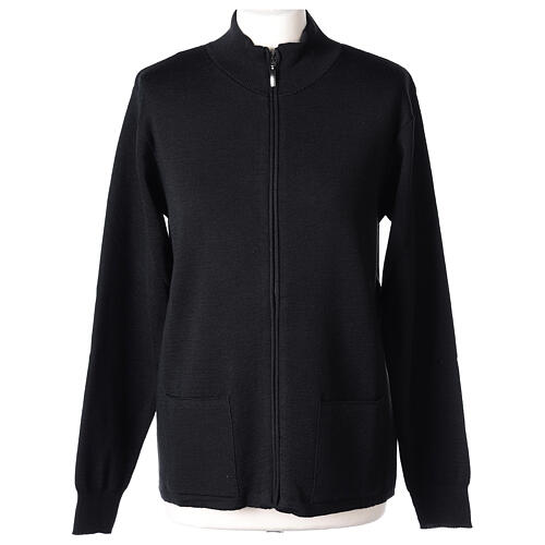 Black nun jacket with mandarin collar and zip 50% acrylic 50% merino wool In Primis 1