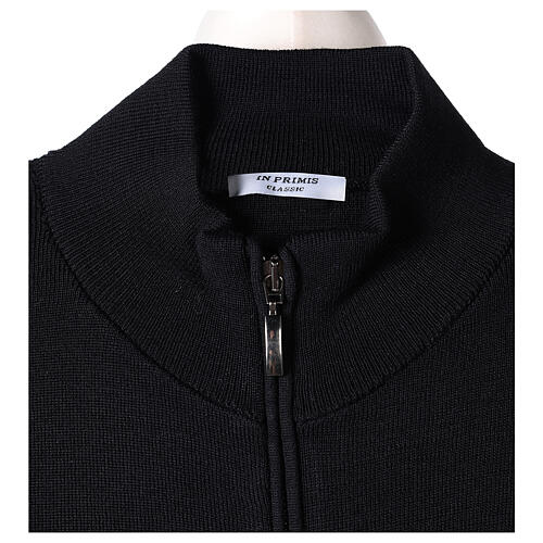 Black nun jacket with mandarin collar and zip 50% acrylic 50% merino wool In Primis 6