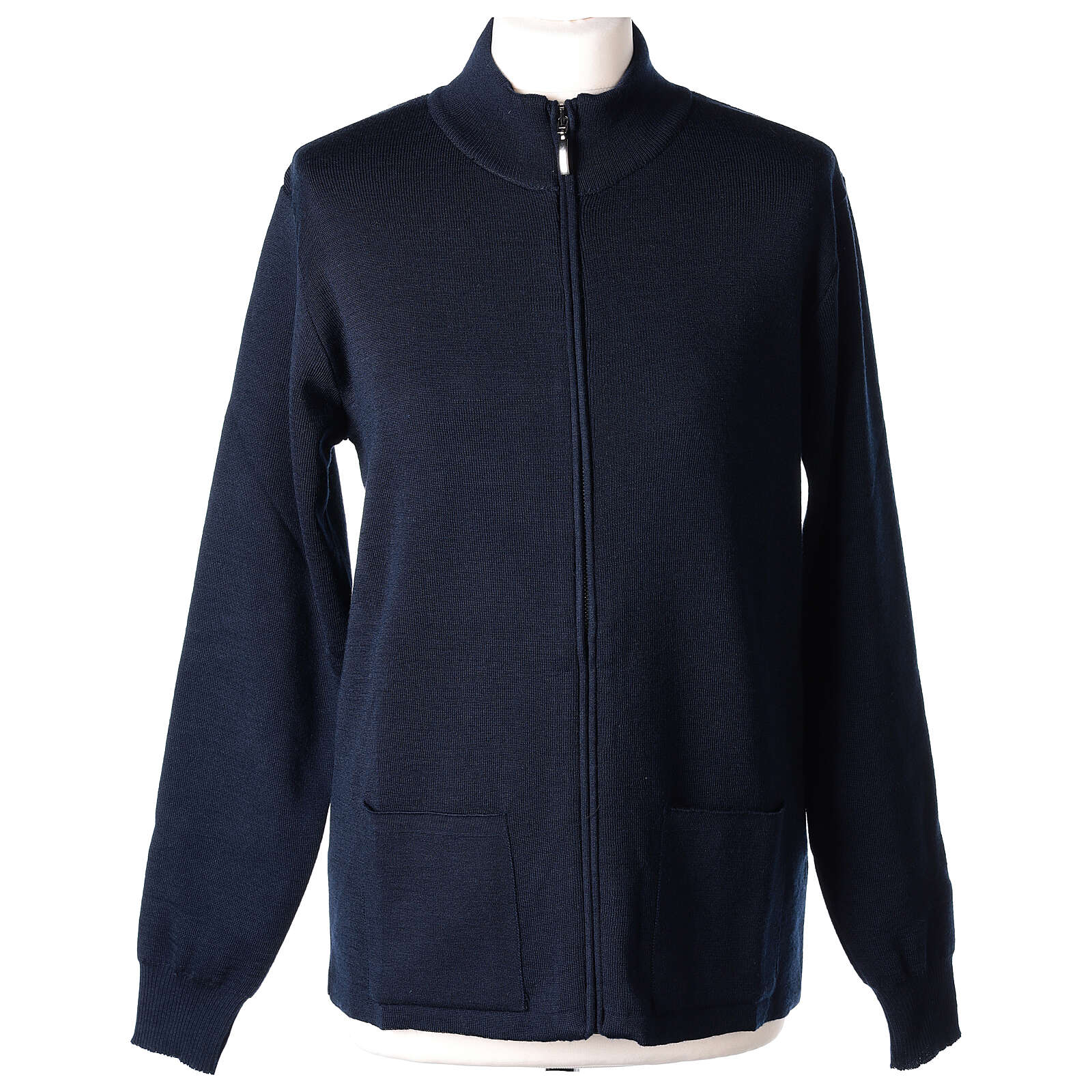 Jacke mit Stehkragen und Reißverschluß, blau, 50% Acryl - 50% Merinowolle, In Primis 4