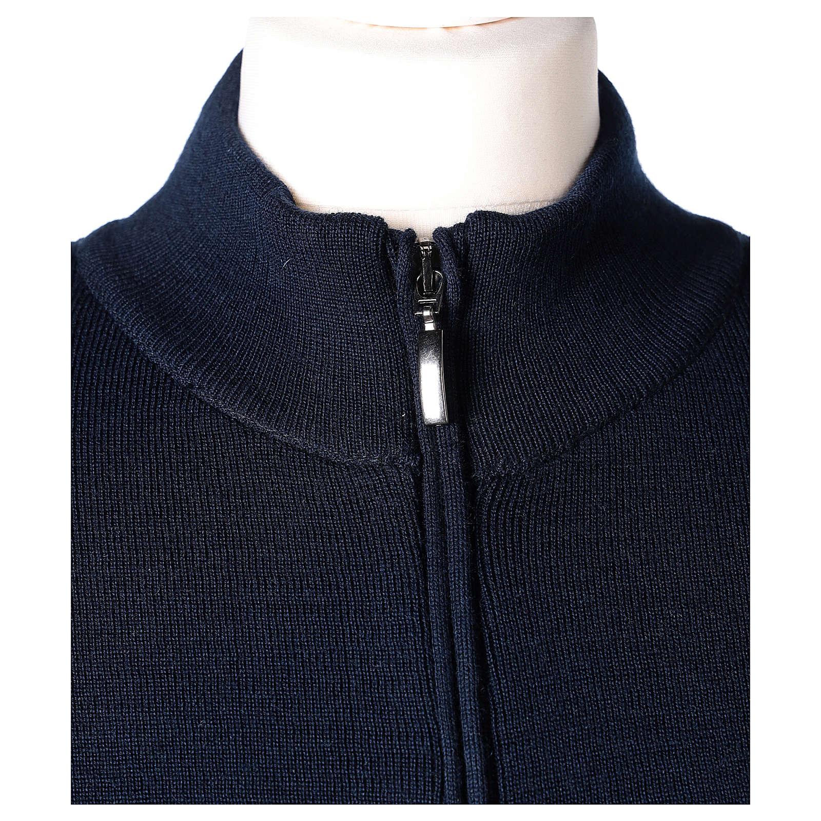 Giacca coreana con zip 50% acrilico 50% lana merino blu suora In Primis 4