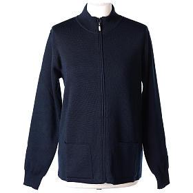 Giacca coreana con zip 50% acrilico 50% lana merino blu suora In Primis s1