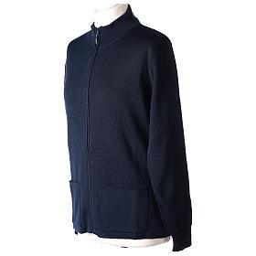 Giacca coreana con zip 50% acrilico 50% lana merino blu suora In Primis s2