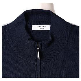 Giacca coreana con zip 50% acrilico 50% lana merino blu suora In Primis s6