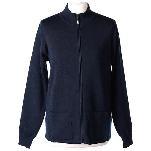 Giacca coreana con zip 50% acrilico 50% lana merino blu suora In Primis 1