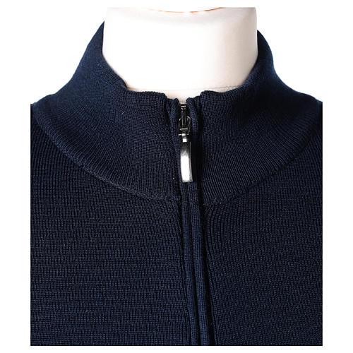 Giacca coreana con zip 50% acrilico 50% lana merino blu suora In Primis 3