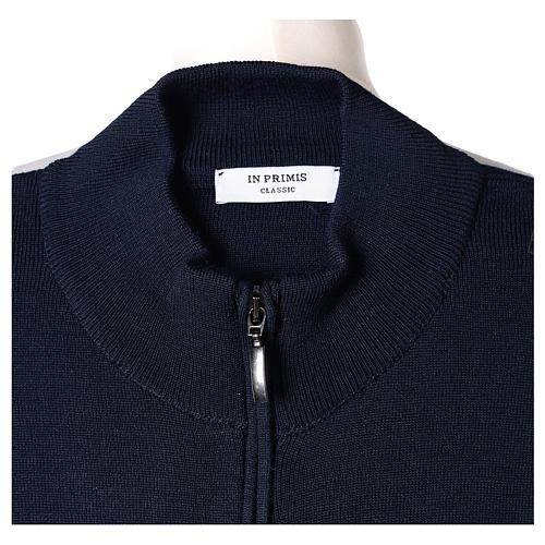 Giacca coreana con zip 50% acrilico 50% lana merino blu suora In Primis 6