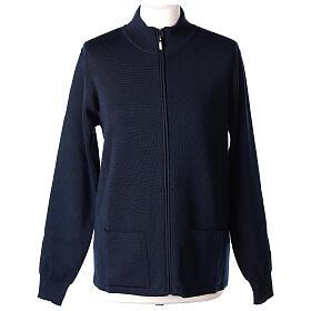 Casaco azul com fecho e bolsos gola coreana para freira, 50% acrílico e 50% lã de merino, linha