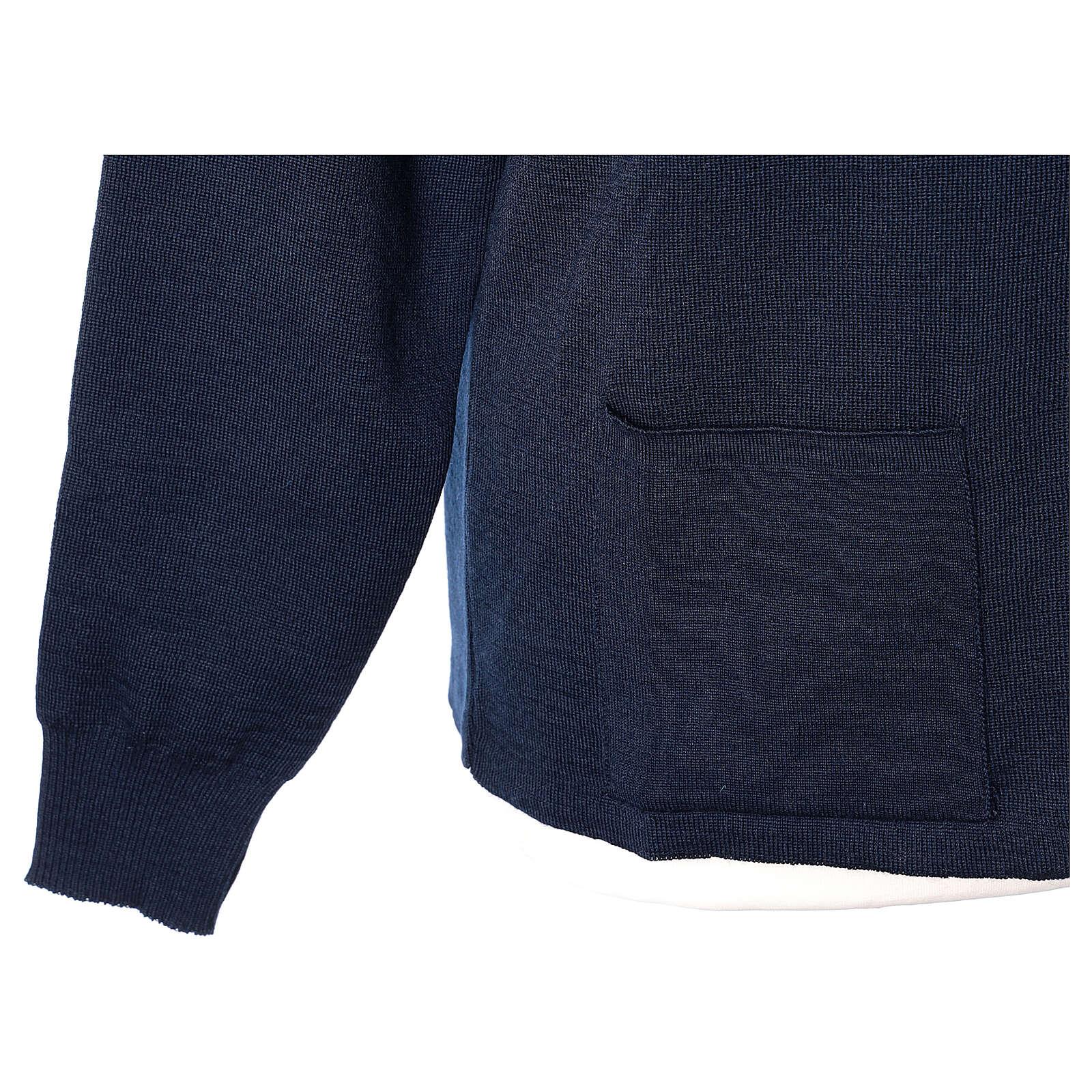 Blue nun jacket with mandarin collar and zip 50% acrylic 50% merino wool In Primis 4