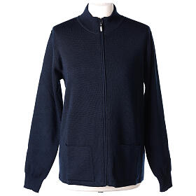 Blue nun jacket with mandarin collar and zip 50% acrylic 50% merino wool In Primis s1