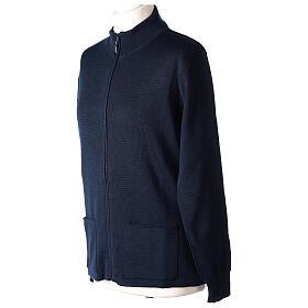 Blue nun jacket with mandarin collar and zip 50% acrylic 50% merino wool In Primis s2