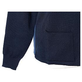 Blue nun jacket with mandarin collar and zip 50% acrylic 50% merino wool In Primis s4