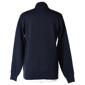 Blue nun jacket with mandarin collar and zip 50% acrylic 50% merino wool In Primis s5