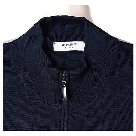Blue nun jacket with mandarin collar and zip 50% acrylic 50% merino wool In Primis s6