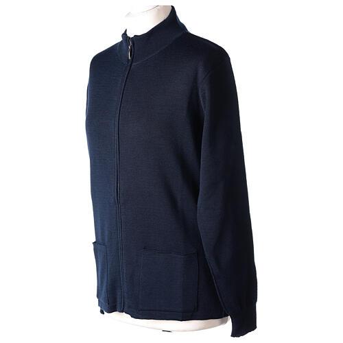Blue nun jacket with mandarin collar and zip 50% acrylic 50% merino wool In Primis 2