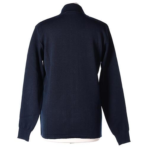 Blue nun jacket with mandarin collar and zip 50% acrylic 50% merino wool In Primis 5
