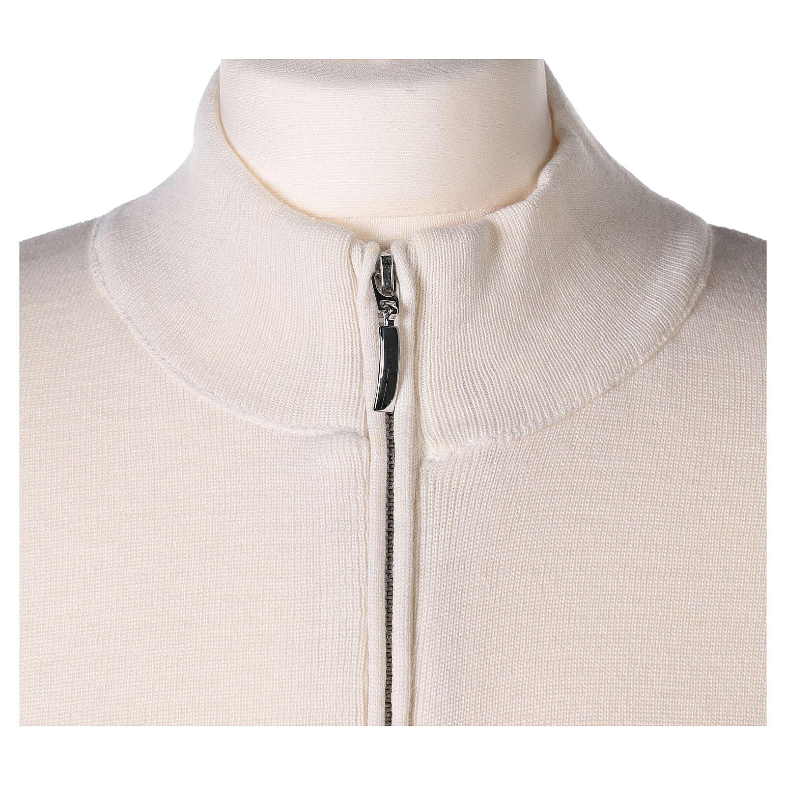 Chaqueta coreana con cremallera 50% acrílico 50% lana merina blanca monja In Primis 4